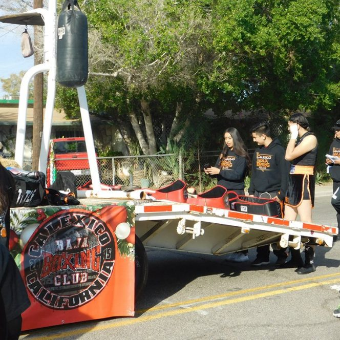 One of many floats, the Baja Boxing Club float prepares for the Calexico Christmas Parade on Dec. 14.