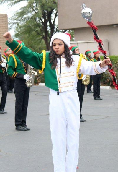 Emmy Venagas, drum major for the Holtville High School Band of Pride, in the 74th Annual Los Vigilantes Christmas Parade in El Centro on Dec. 7.