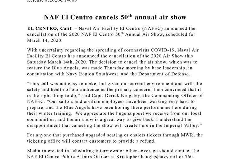 NAF El Centro Cancels Show